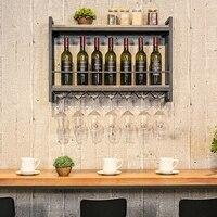 Винная стойка настенная полка дисплей Утюг деревянный держатель для вина держатель бокалов