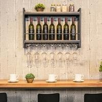 Wine Rack Wall Hanging Shelf Display Iron Wood Wine Holder Goblet Rack