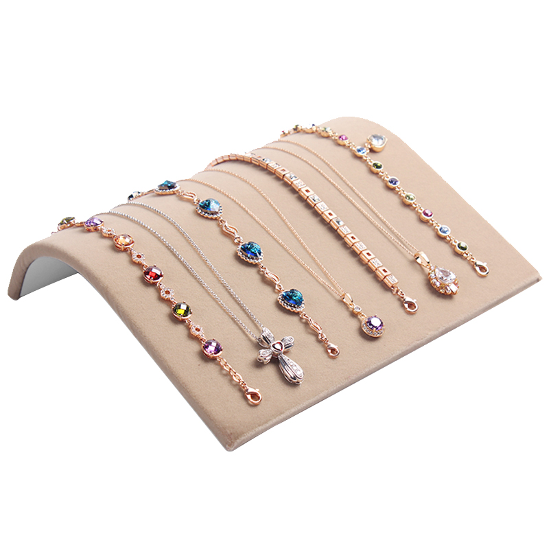 113990b92a3 19 19.7cm Velvet Necklace Bracelet Curved Showcase Holder 1pcs Velvet  Jewelry Display Stand Brown Black Pink Beige Holder Rack-in Jewelry  Packaging ...