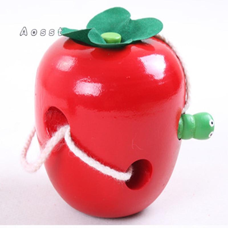 AOSST Houten speelgoed De Caterpillar Eats the Apple Houten puzzel - Leren en onderwijs