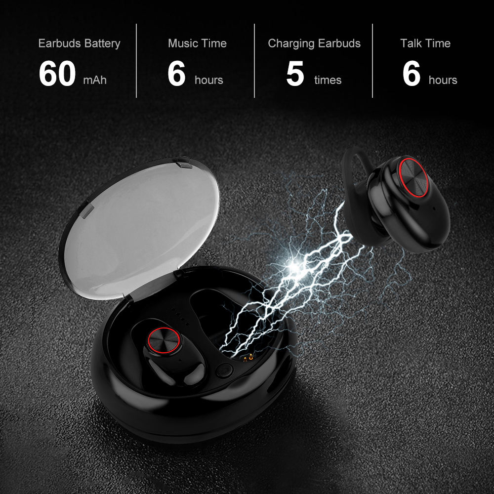 Bluetooth 5.0 Earbuds Headset Stereo QI-Enabled With Charging Box - Waterproof  2