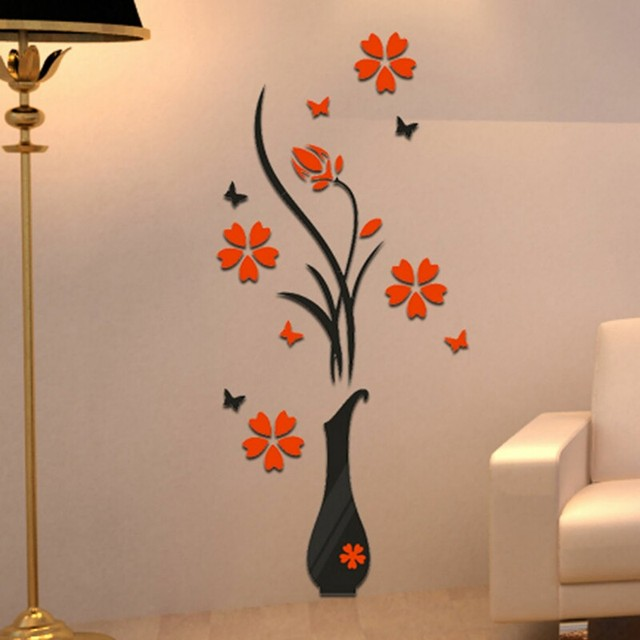 WHISM 3d Wall Sticker Flower Acrylic Vase Plum Butterfly Wall Decals Mural  Wallpaper For TV Background