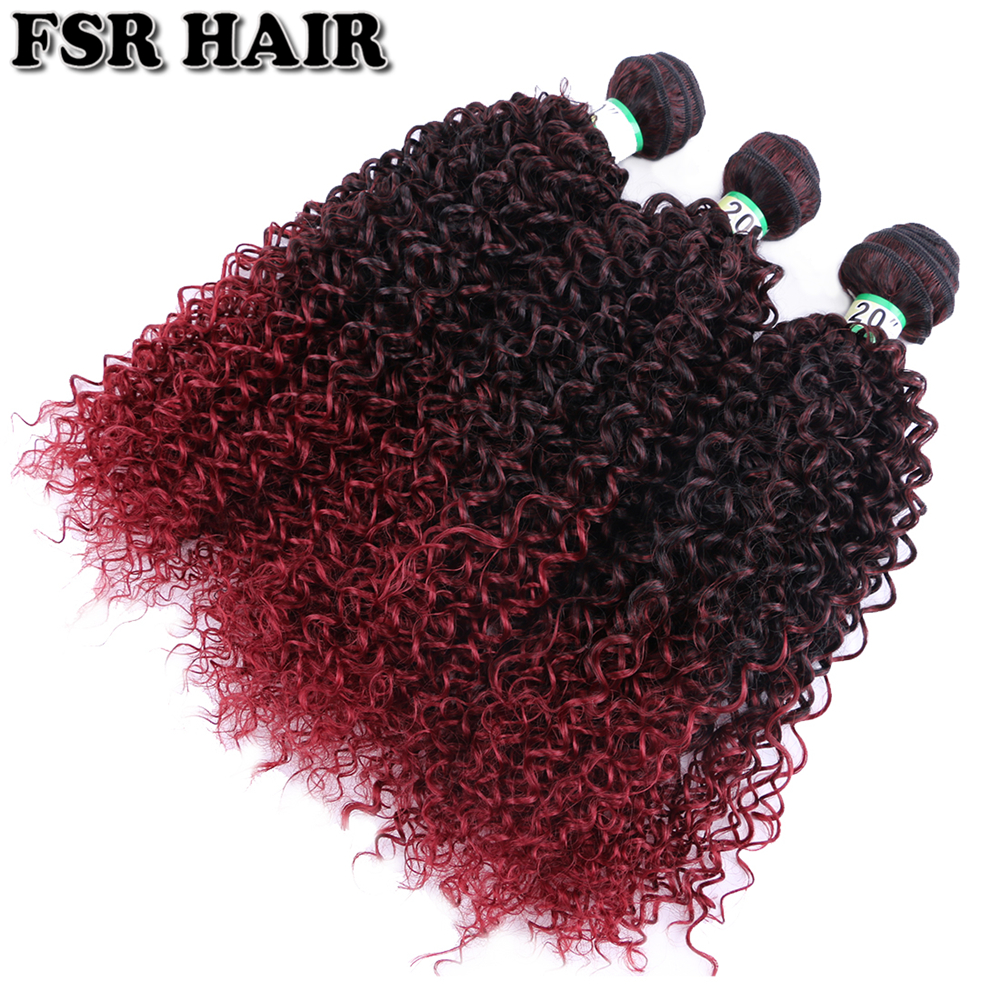 FSR 100 Gram/pcs Ombre Kinky Curly Hair Weaving Fashion Wine Red Synthetic Hair Bundle