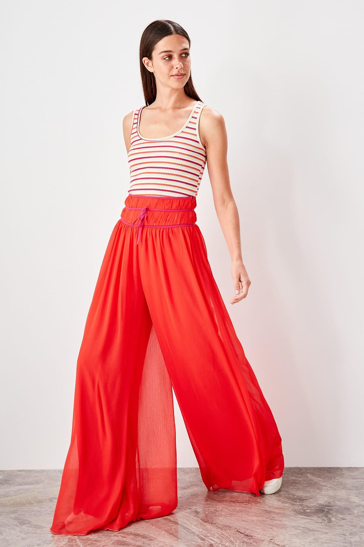 Trendyol Orange Flare Piping Pants TWOSS19PL0154