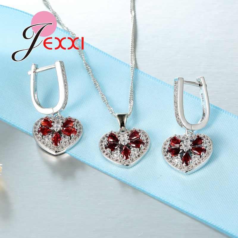 Pomme avec graine rouge Top qualité argent cristal ensemble de bijoux 1pc collier pendentif avec 1 paire de boucles d'oreilles pour les femmes