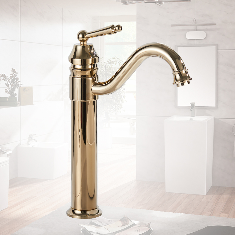 Basin Faucets Gold Plated Deck Mounted Bathroom Faucets Brass Bathroom Taps Mixer Crane Torneira Single Handle Faucet 6633