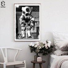 Vintage Astronaut Posters And Prints Monochrome Canvas Wall Art Painting Wall Picture For Living Room Decoration nordic bird canvas art prints and posters monochrome canvas painting wall art picture for living room home decor