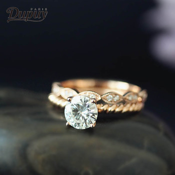 DUPUY 14K Rose Gold Engagement Rings Set 1.0ct Cut Forever Classic Ring&Half Eternity Conflict Diamond Wedding Ring D180381