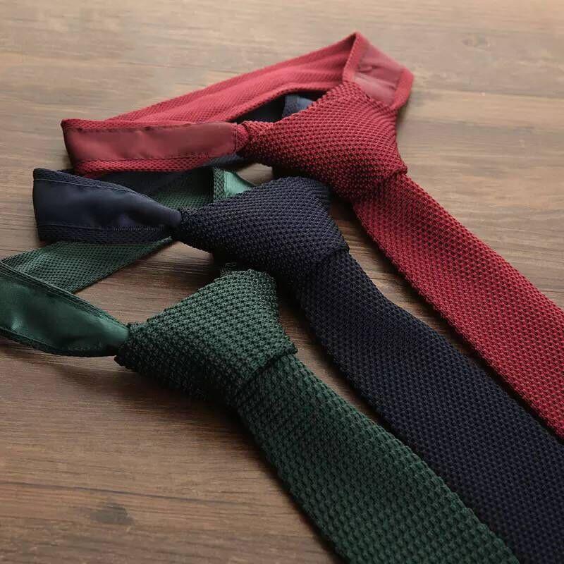 JEMYGINS Original Skinny Knitted Plain Tie 2.3