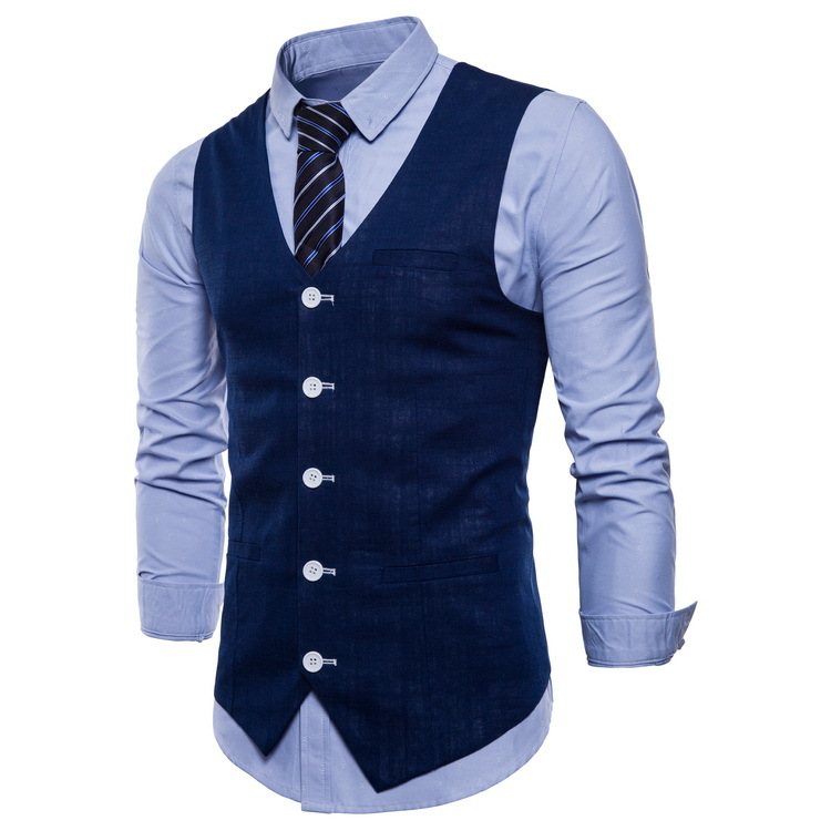 Image 2 - Mens Slim Fit Single Breasted Suit Vest 2018 Brand New Formal Dress Business Wedding Vest Waistcoat Men Solid Color Gilet Homme-in Vests from Men's Clothing