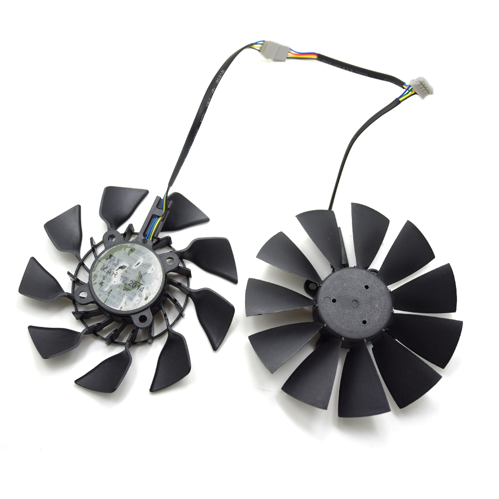 2pcs/lot EVERFLOW T129215SU DC 12V 0.5A 5Pin GPU VGA Cooler Fan For R9 390 /R9 390X Graphics Card everflow 75mm 2pin 2lines 0 2a t128010sm computer radiator graphics card cooler fan for gigabyte radeon r9 270x 280x vga cooling
