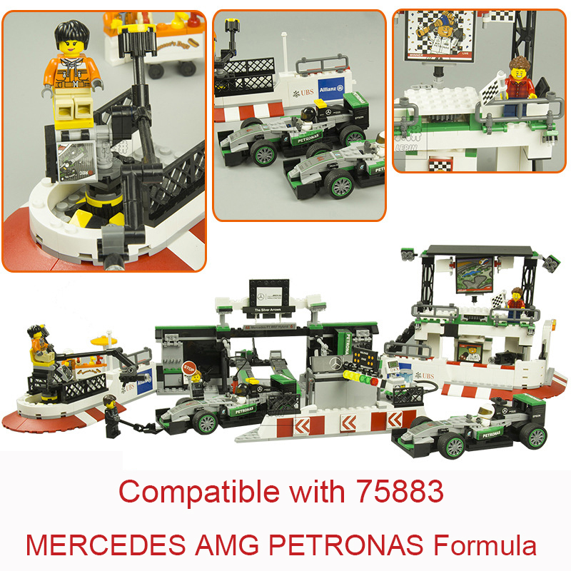 Super Racers Series Speed Champions THE AMG PETRONAS Formulasuper Car 75883 Building Blocks Christmas Toys For Children wange 8011 new famous architecture series the kuala lampur petronas tower 3d model building blocks classic toys for children
