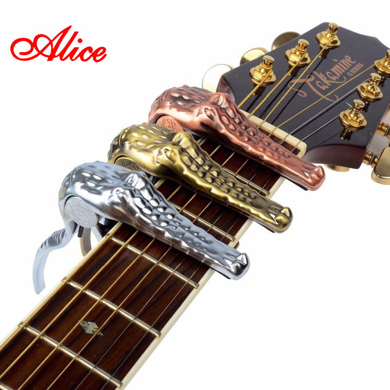 Alice Brand Capo For Acoustic Classical Electric Guitar Crocodile Style High Quality Aluminum Alloy Capo Guitarra Capos A007G alloy classical guitar capo black silver