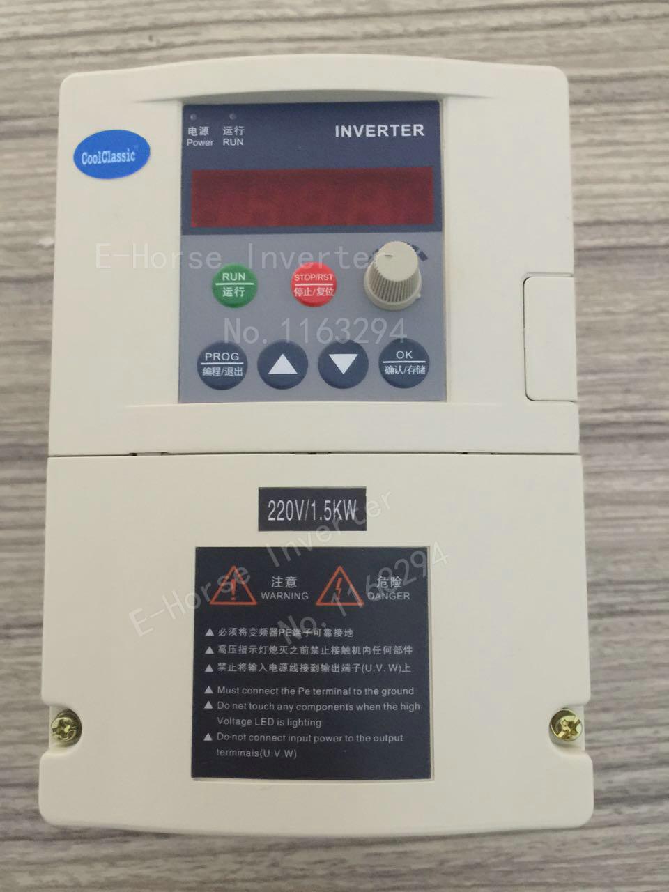 Convertisseur de fréquence ZW-S2015 1.5KW CoolClassic Onduleur monophasé Entrée 220 v 3-phase sortie moteur avec contrôle de ligne