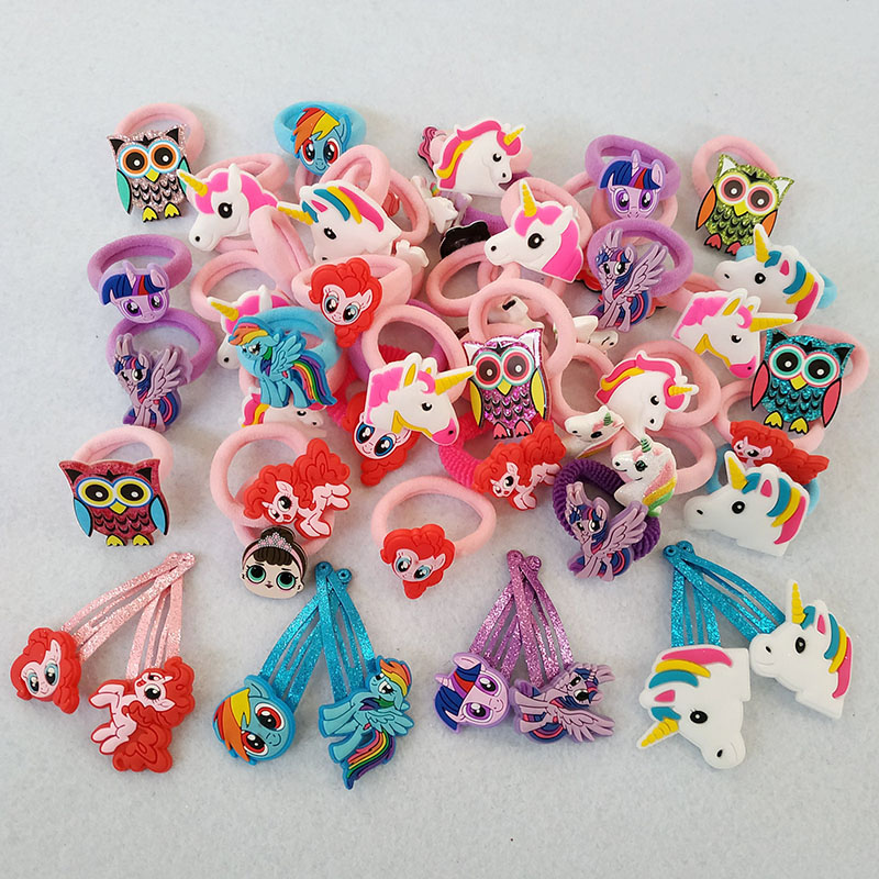 12pcs Cartoon Set Basic Rubber Band Children Cartoon Hairpin Kids Elastic Hair Band Girls Hair Clip Pin Hair Accessories