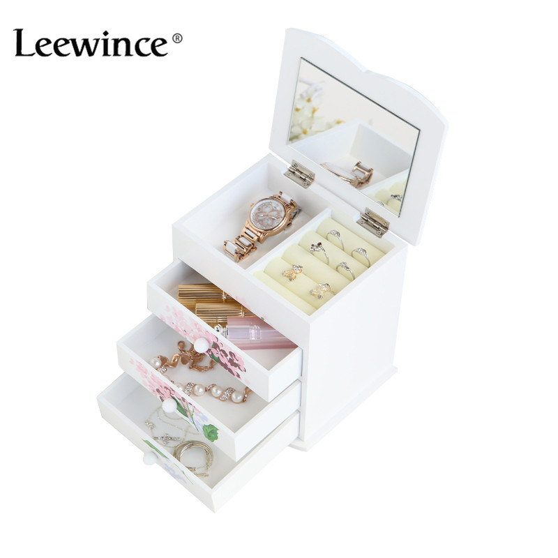 Leewince Custom Wooden Jewelry Makeup organizer E0 E1 MDF Storage box Beautiful Design box Jewelry for display,Support OEM & ODM v cut wooden makeup organizer