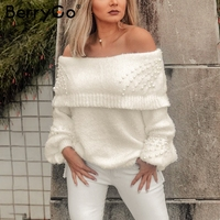 BerryGo Rufle off shoulder pearl knitted sweaters female Lantern sleeve loose casual pullover Women 2018 autumn winter jumper
