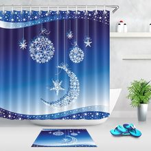 Christmas Balls Moon Star Shower Curtain White Snowflakes Gradient Blue Bathroom Waterproof Polyester Fabric For