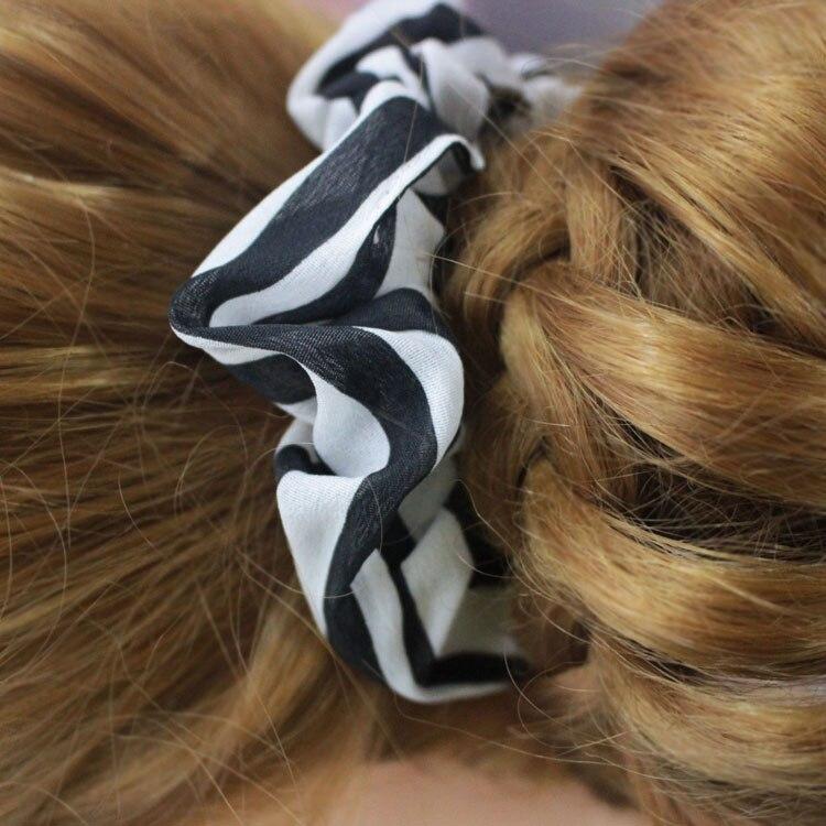3pcs Black and white stripes chiffon cloth Elastic Hair Bands of women Pure black ponytail holders girls hair band hair ring