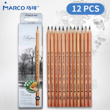 Marco 12Pcs Sketch Painting and Drawing Pencil Set 2H H HB B 2B 3B 4B 5B 6B 7B 8B 9B For School Students Stationary Art Supplies