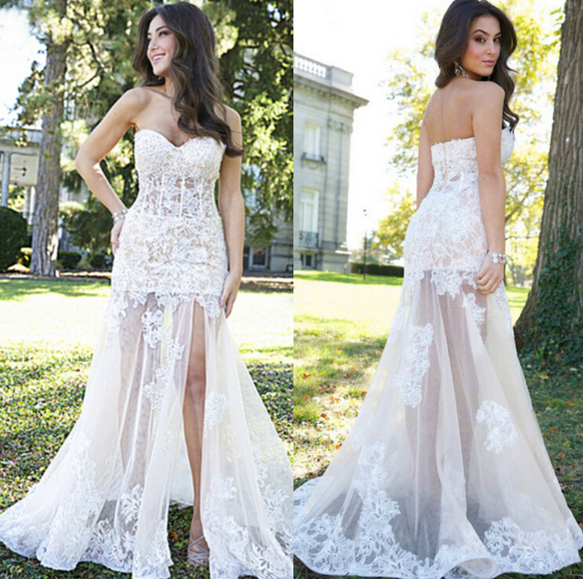 White Lace Tulle Mermaid Prom Dress 2015 Sleeveless Evening Gowns ...