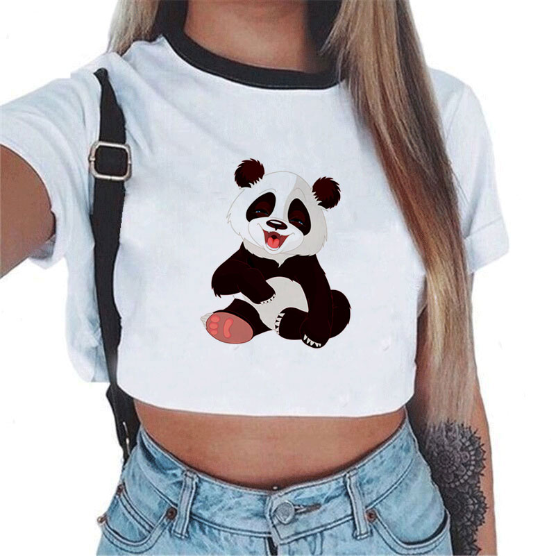 Summer Ladies Sexy Panda Print Top Tee Cropped For Women T-shirt Leisure T Shirt White Short Sleeve Crop Tops 2017