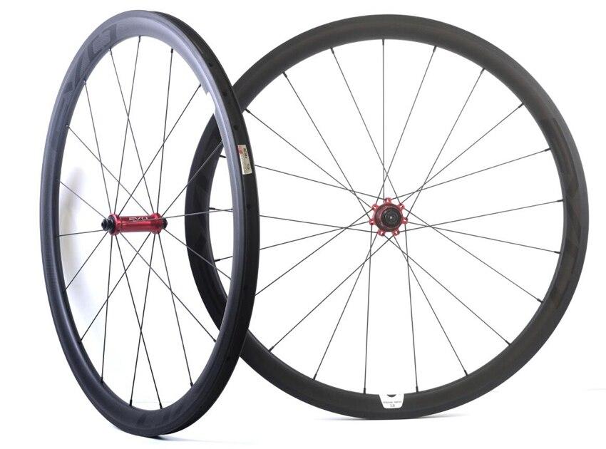 EVO 38mm profondeur vélo de route carbone roues 25mm largeur pneu/tubulaire vélo roues de carbone 3 k mat avec moyeu de traction Directe