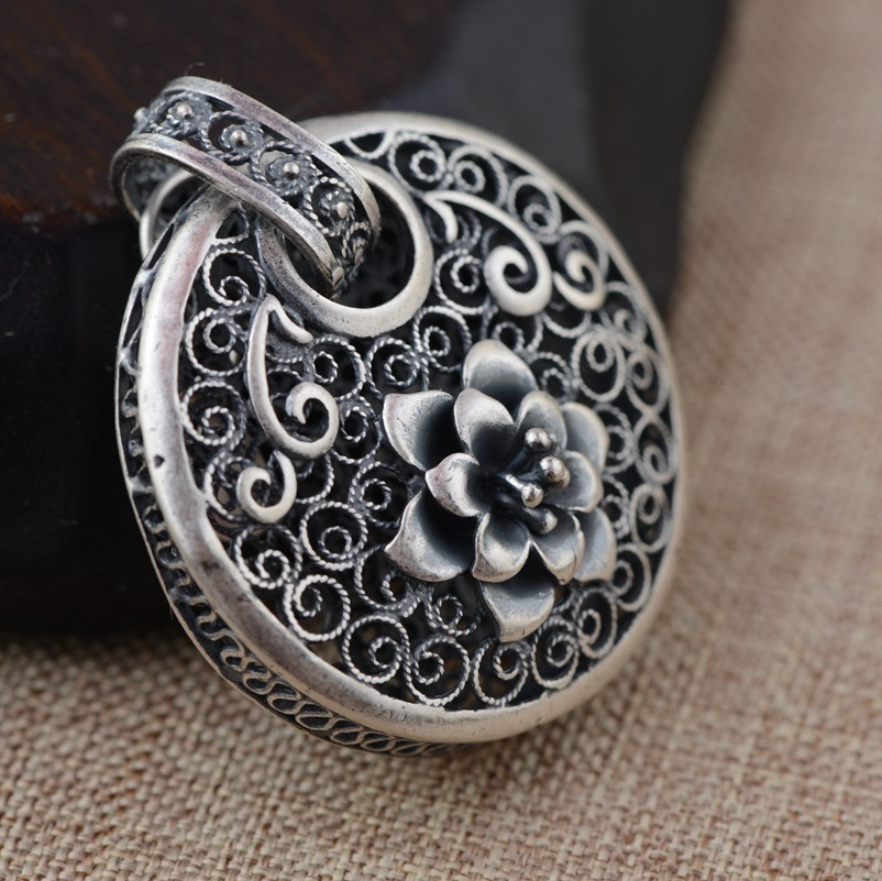S990 sterling silver filigree pendants wholesale silver process s990 sterling silver filigree pendants wholesale silver process female high end atmosphere hollow blossoming pendant in pendant necklaces from jewelry aloadofball Image collections