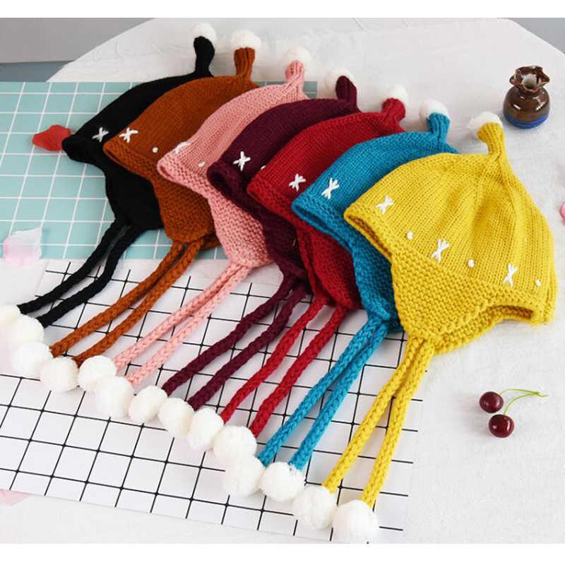 ทารกแรกเกิดถักหมวกเด็กทารกหมวกฤดูหนาวน่ารักสำหรับสาวหนาหมวกเด็ก Beanies หมวกเด็กสำหรับ 2-9 ปี GH682