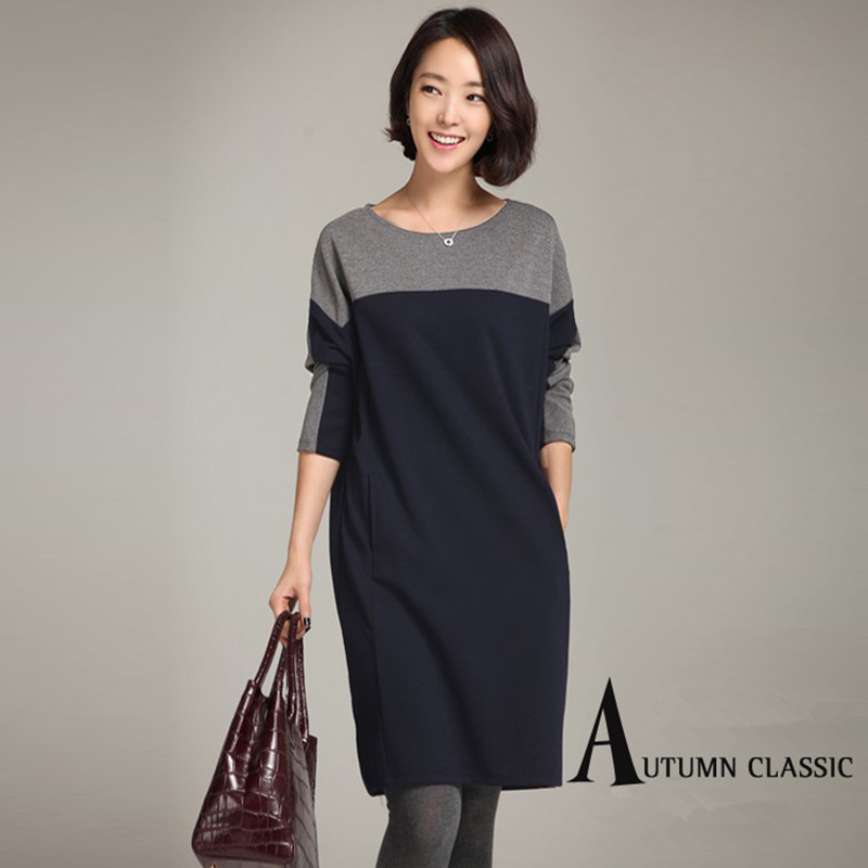 Autumn Winter Maternity Casual Dresses Fashion Patchwork Plus Size