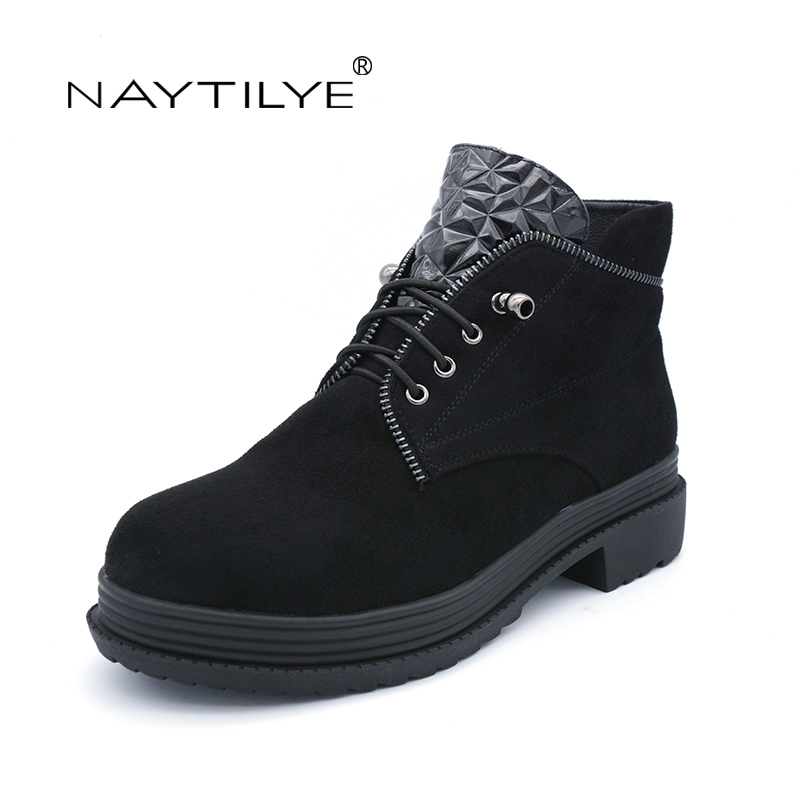 NAYTILYE new fashion 2017 PU-leather shoes woman ankle boots round toe square heels spring autumn black blue size 36-40 riding boots chunky heels platform faux pu leather round toe mid calf boots fashion cross straps 2017 new hot woman shoes