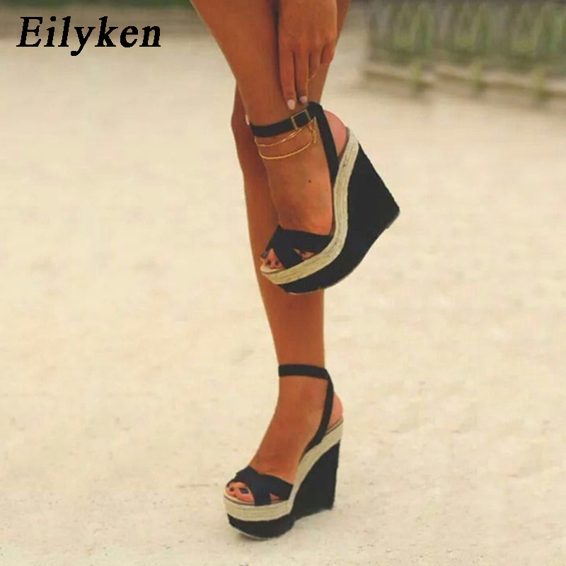 Eilyken Sandals Wedges Shoes Buckle-Strap High-Heels 15CM Fashion Women Platform Leisure