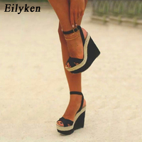 Eilyken/модные женские летние босоножки; обувь; Пряжка ремешок; босоножки на танкетке; туфли на высоком каблуке 15 см