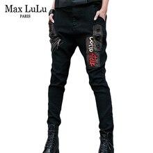Black Jeans Streetwear Woman Harem-Pants Embroidery Denim Trousers Girls Korean-Style