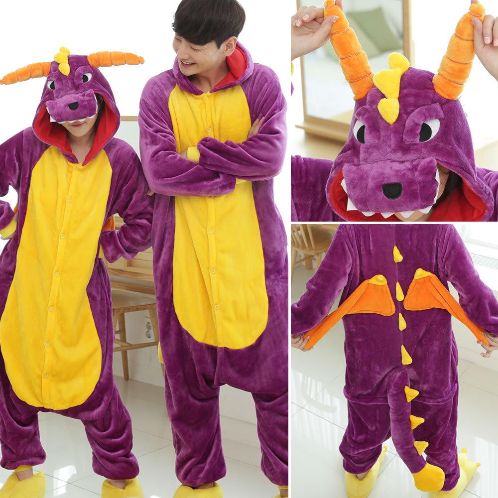 Animal Costume Onesie Adult Overall Pajama wholesale Women Men Party Jumpsuit Cartoon Stitch Totoro  Dinosaur Spyro Cosplay