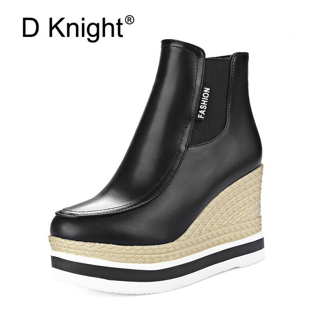 9a48e506656 New Fashion Round Toe Platform High Heels Wedge Boots For Women Ladies  Casual Winter Ankle Boots