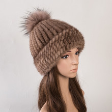 Real fur hat of natural mink fur caps for women autumn 6 colors  new style fur beanies russian winter warm fur hats H142