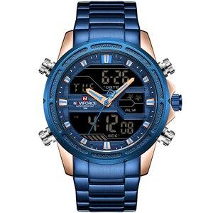 Image 5 - NAVIFORCE Männer Sport Uhren herren Quarz LED Digital Uhr Männlichen Luxus Marke Voller Stahl Military Armbanduhr Relogio Masculino