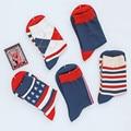 Новый Стиль мужская красочные Бизнес бренд носки, гребнечесанию Хлопковые носки США 7.5-12 (5 пар/лот)