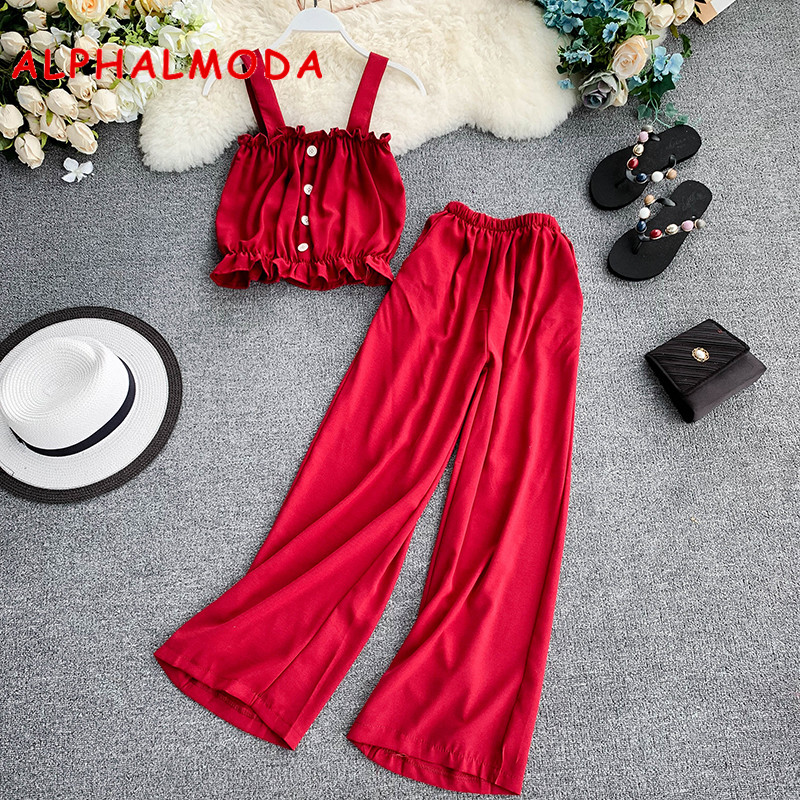 ALPHALMODA Holiday Casual Crop Top + Elastic Waist Wide-leg Pants Women Summer 2pcs Sets Singe Breasted Tank Top Pants Solid Set