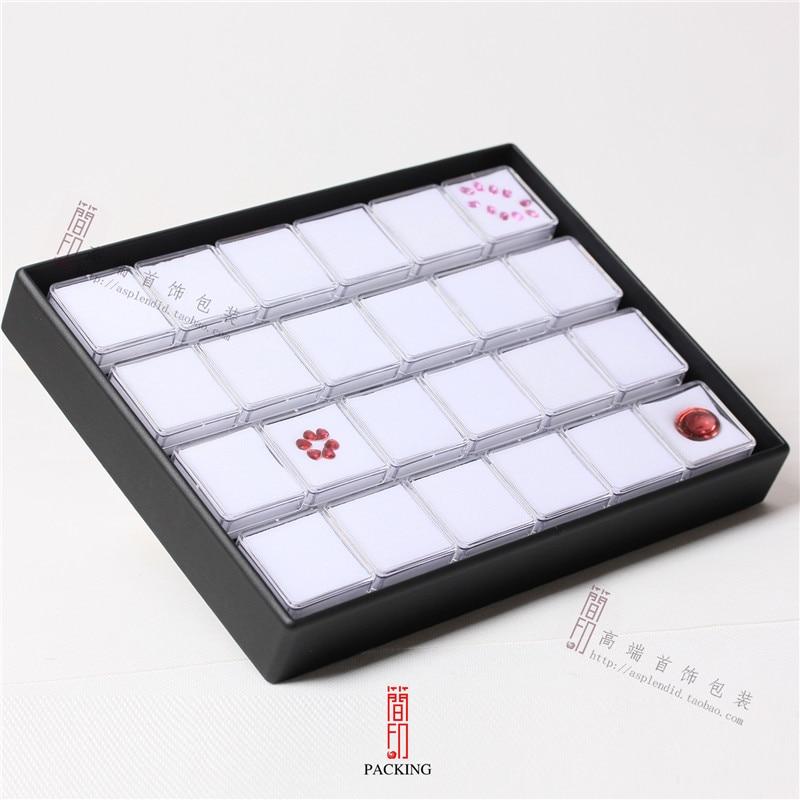 24 pièces/plateau boîte de pierres précieuses Transparent en  plastique noir et blanc couleur diamant présentoir boîte de gemme ou  organisateur de pierres précieusesgemstone boxgem boxdisplay tray -