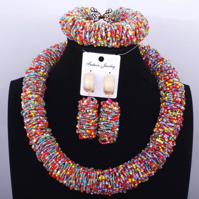 2018 Dubai Choker Necklace Costume Nigerian African Wedding Beads Jewelry Sets For Women Multicolor Jewellery set Free Shipping