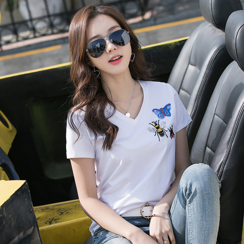 Yalabovso 2017 3XL size Short Sleeve Tops Women T Shirts Handmade O Neck Cotton Female T Shirt Slim Bottoming Tees 7991 z15 in T Shirts from Women 39 s Clothing