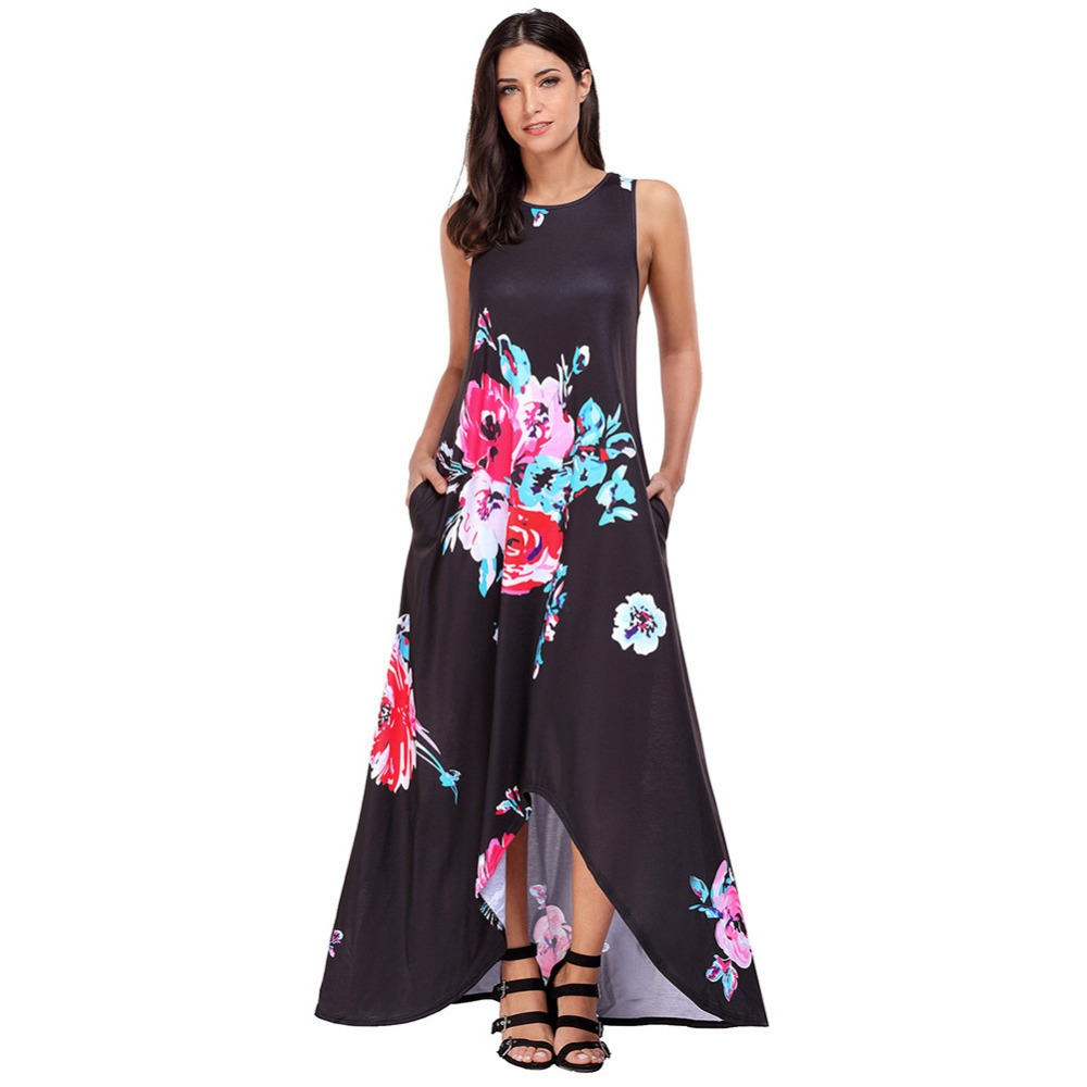 World off-white Store bohemian women's round collar sleeveless long dress Ankle-Length flower printed dress with pocket 61561