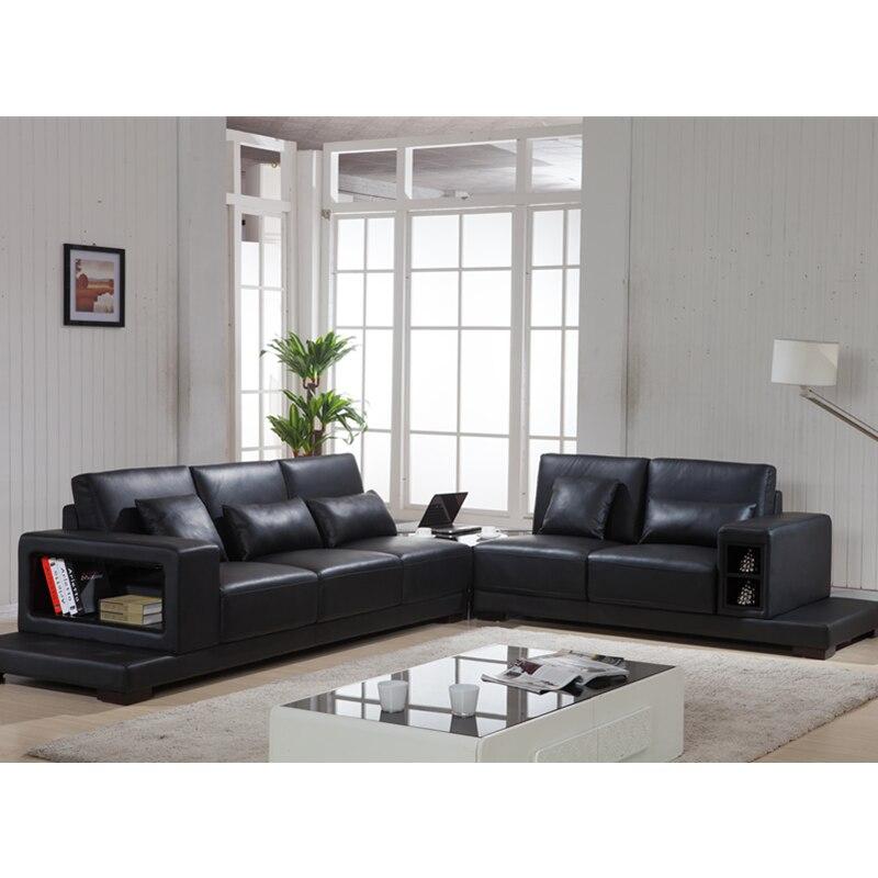 Black Simple Design Luxury Leather Sofa Italian Furniture Living