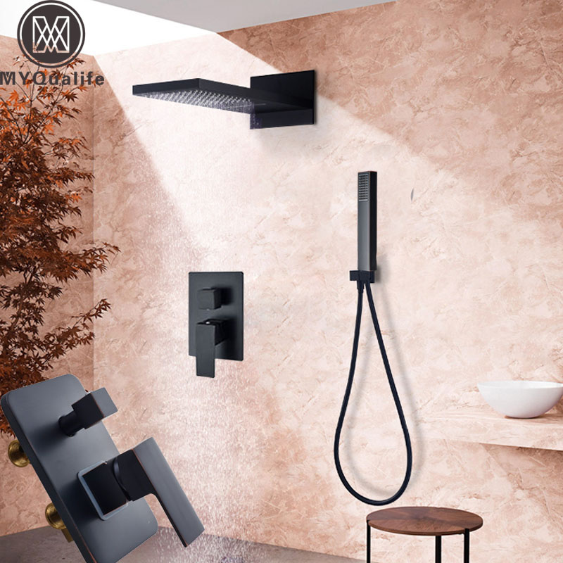 Oil Rubbed Bronze Waterfall Rain Shower Faucet Set Single Lever Bathroom Shower Mixers with Handshower Brass 3-ways mixer valveOil Rubbed Bronze Waterfall Rain Shower Faucet Set Single Lever Bathroom Shower Mixers with Handshower Brass 3-ways mixer valve