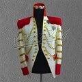 Горячие продажи мужской костюм белый костюм би стиль звезды костюм 2014 тонкий мужской алмазные одежда костюм этап певица носит танцор куртки