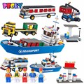QWZ 801 unids 8 en 1 Terminal de Carga Barco Barco Camión grúa diy conjunto de bloques de construcción ladrillos de juguetes educativos para niños regalos