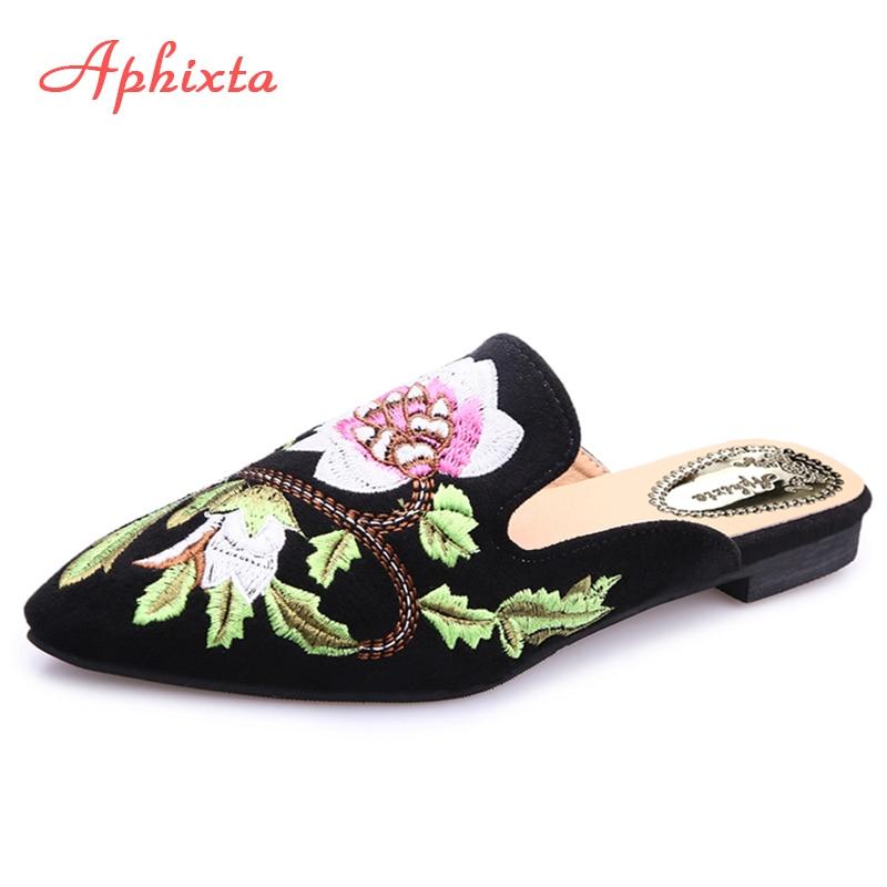 Aphixta Sieviešu apavi Modes ziedu čības Shallow izšūšana zema papēža dzīvoklis ar rudens ziedu punktu pirksta āra melna čības
