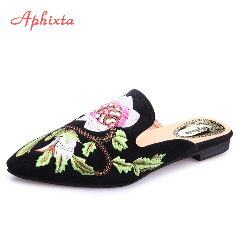 Aphixta Γυναικεία παπούτσια Μόδα Λουλούδι Slipper Ρηχό Κέντημα Χαμηλή τακούνι Flat με Φθινόπωρο Floral Point Toe Εξωτερική Μαύρη Παντόφλα
